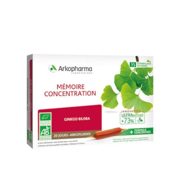 Arkopharma Mémoire et Concentration 20 ampoules