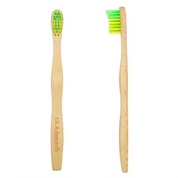 Brosse à Dents Souple Vert et Jaune Enfant Ola Bamboo